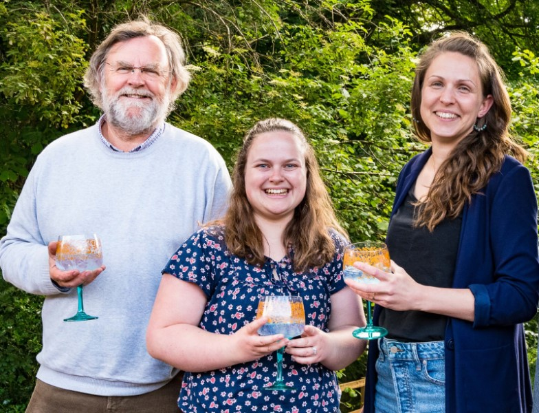 Prof Richard Murphy with Sustainability Hero Bare+Fair business owner Mel Hemmings (left) and colleague Becky Beeson